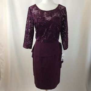 Shift dress lace and sequins. Purple. (#187)